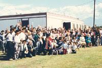 Grupo frente al trailer grande en 1990 Momento en que el grupo quedó oficializado